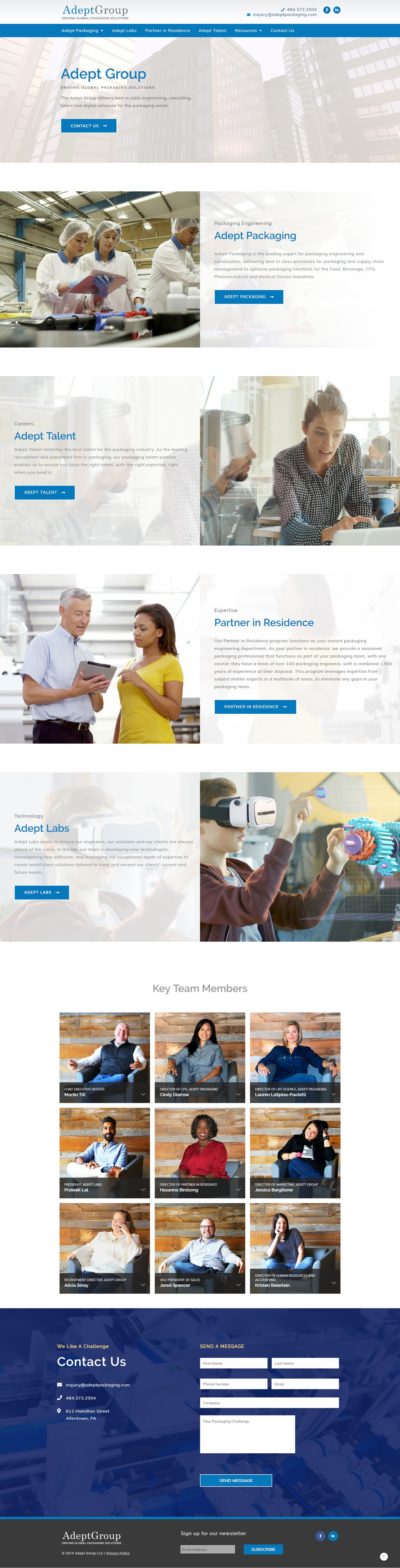 Screenshot of AdeptPackaging.com