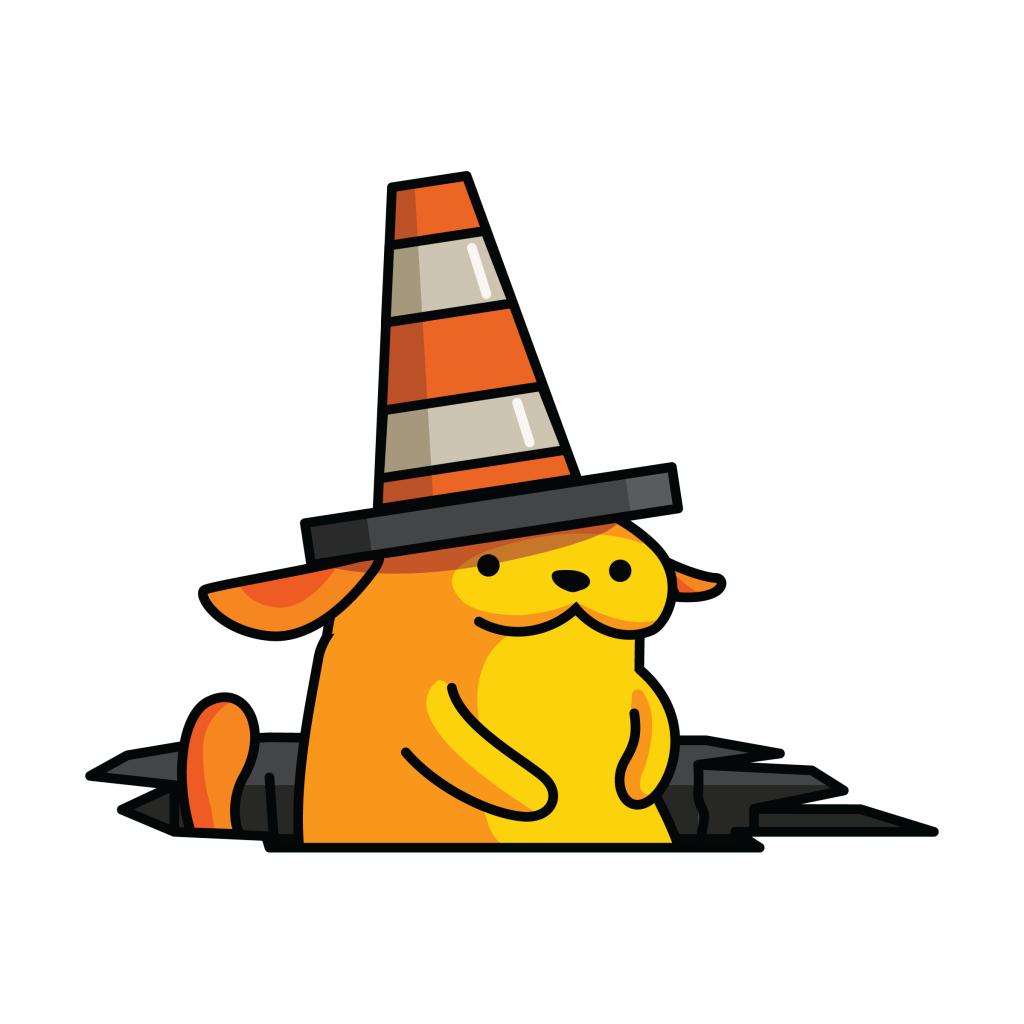 Wapuu, WordPress' mascot with a traffic cone on its head in a pothole