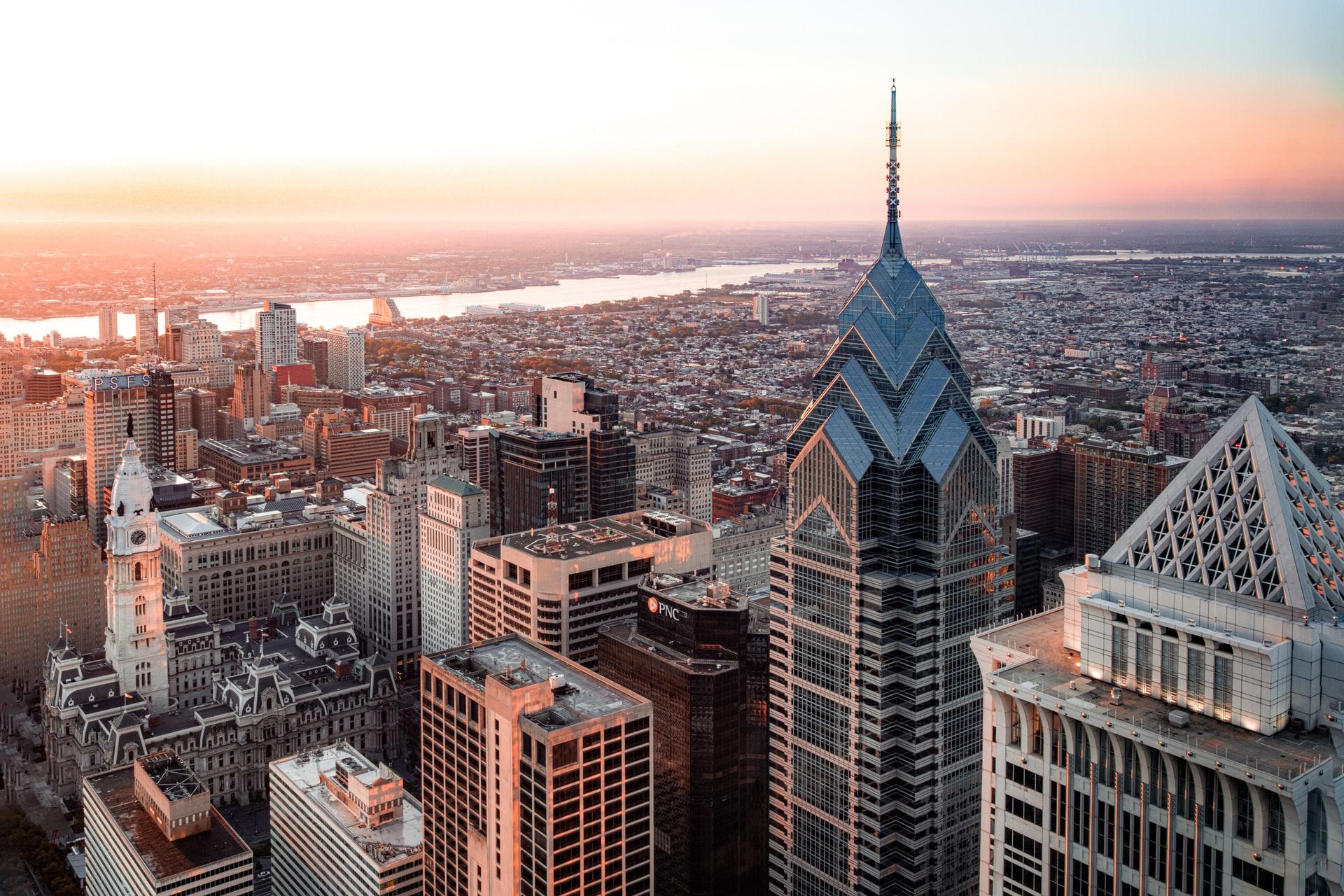 Philadelphia skyline from above.