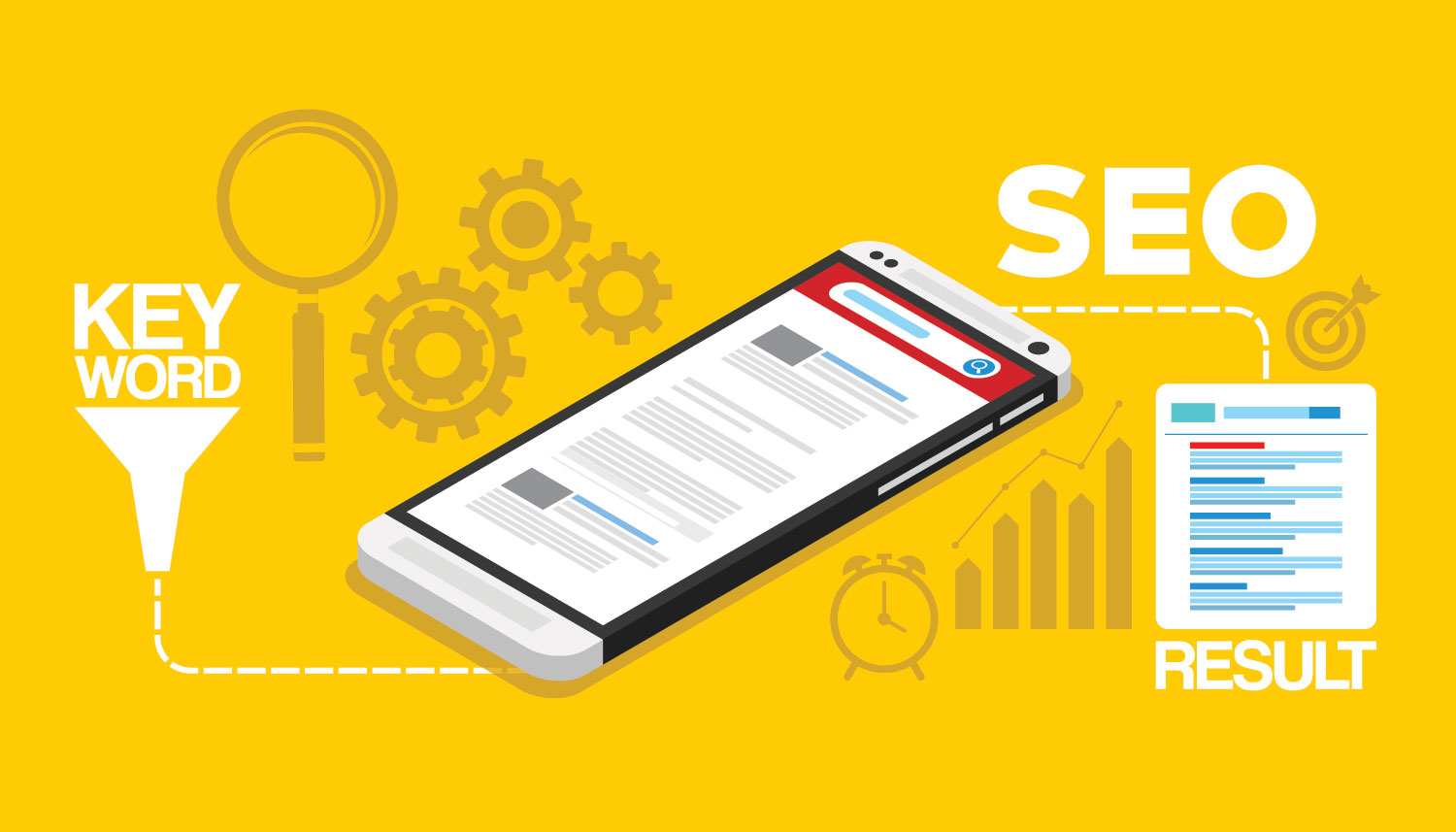 Search Engine Optimization Services Graphic of a phone and charts